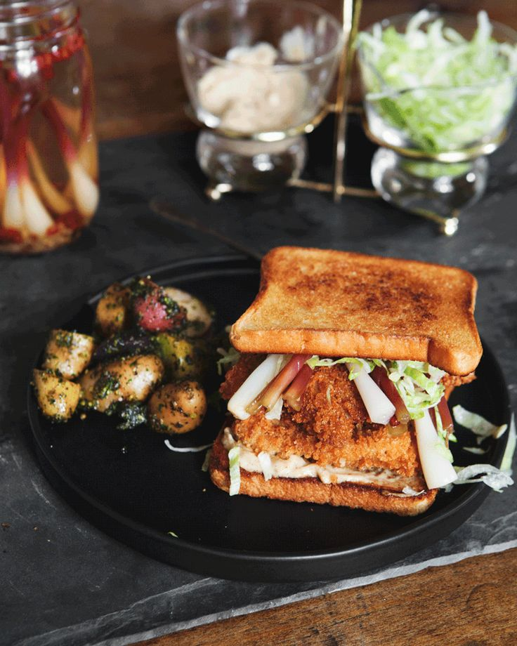 Fried Chicken Sandwich with Old Bay Aioli and Pickled Ramps — a Better Happier St. Sebastian