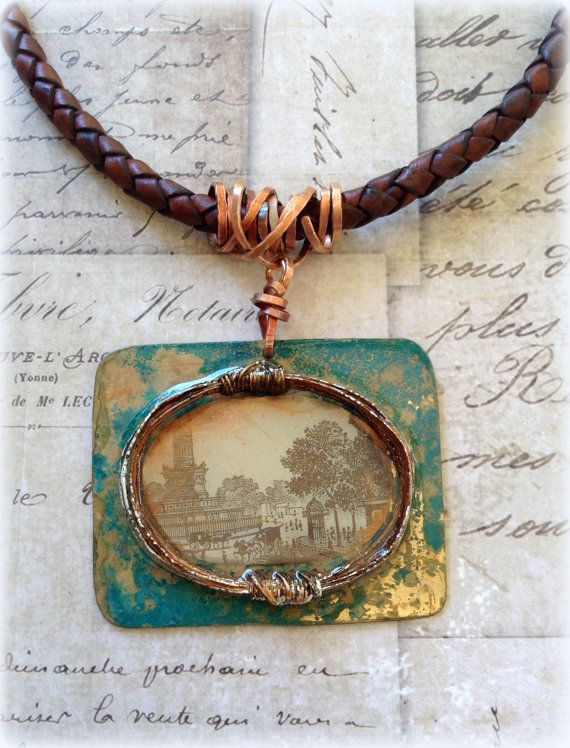Mixed Media Necklace. One of a kind. Hand cut by ClockHandsGoneMad