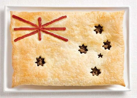Australia - food flag (meatpie, sauce)