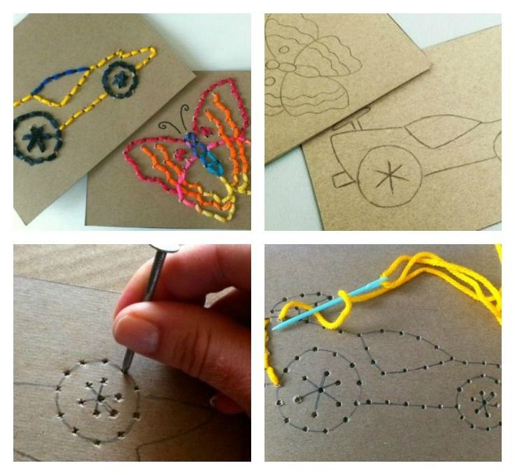 Sewing for Kids - Easy Stitch Cards: Practice fine motor skills Fun to do with their own drawings. Have them draw on cardboard - the back of a cereal box would work. Then they could poke their holes and sew it.