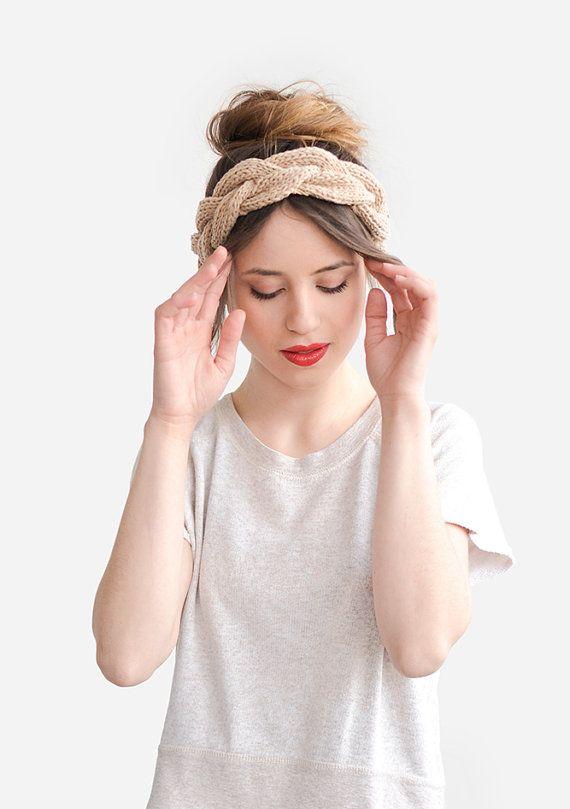 Serre-tête, bandeaux Summer Beige, accessoire de cheveux Womens, bandeau tresse printemps, Turban nue Boho Chic, pur coton tricotés à la main