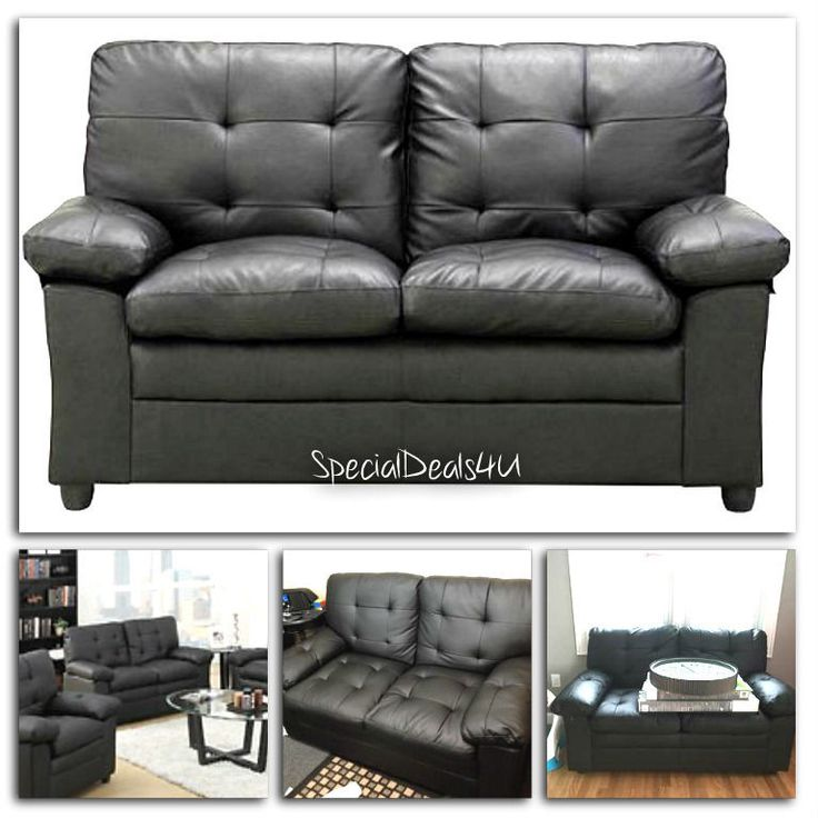 Black Loveseat Faux Leather Small Couch Sofa Living Room Furniture Dorm Den NEW #DHI #ContemporaryTraditionalClassic