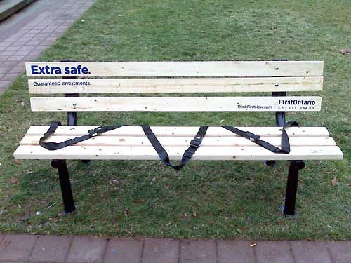 Extra Safe   From 30 Clever Examples Of Park Bench Advertising Campaigns