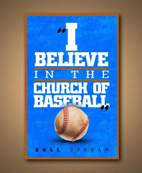 BULL DURHAM Church Of Baseball Movie Quote by ManCaveSportsSigns