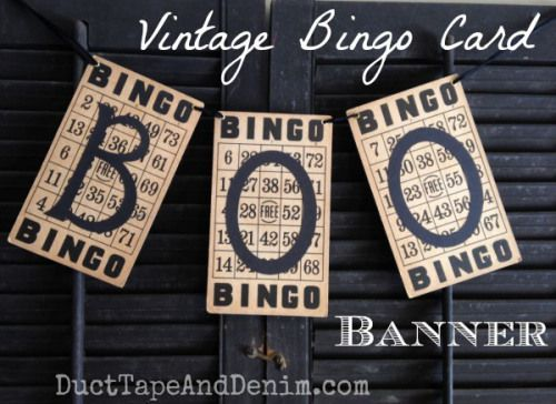 Vintage BINGO card BOO Banner. One of my favorite garlands I've made!  Simple Halloween craft Tutorials, DIY holiday decorations, and project ideas on http://DuctTapeAndDenim.com