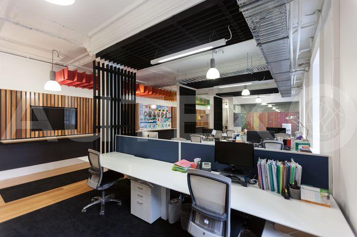 Quietspace® Lattice, Eclipse - FCB, Wellington, NZ - Suspended from ceiling - Colour: Ironbank, Bosco, Senado & Zenith - Modern Office Space