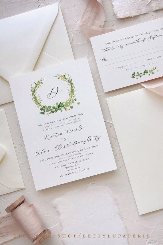 Start Your Wedding With Elegant Stationery Our Eucalyptus Invitation Suite Is A Timeless Option For Brides Who Adore Clic Details