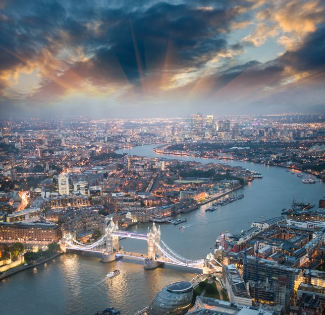 London. Aerial view of Tower Bridge at dusk with beautiful city skyline  #RePin by AT Social Media Marketing - Pinterest Marketing Specialists ATSocialMedia.co.uk