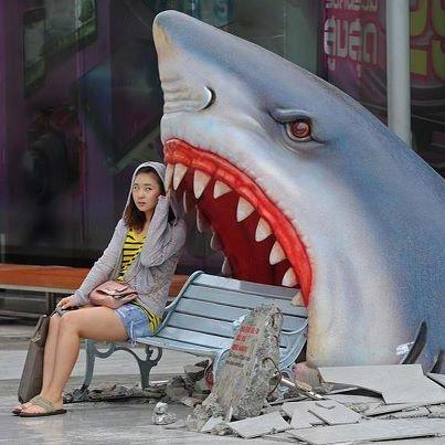 Shark bench at a shopping mall in Bangkok