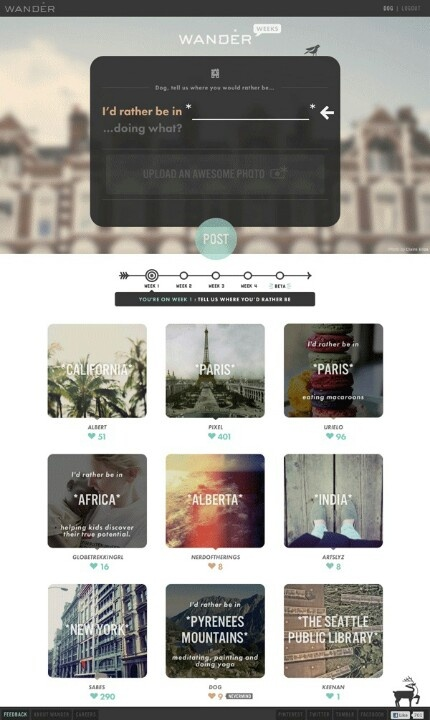 #webdesign for a #social network concept about places you'd like to be at!