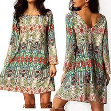 2016 Моды Женской Одежды Платья Летние Boho Длинным Рукавом Партия Повседневная Одежда Пляж Короткое Мини Платье Плюс Большой Размер(China (Mainland))