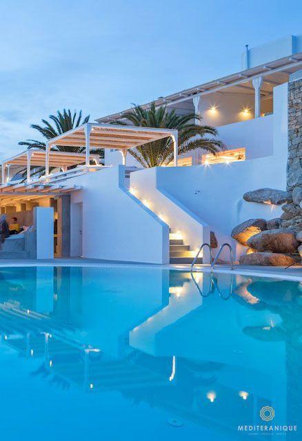 The swimming pool at the Boheme Mykonos Hotel