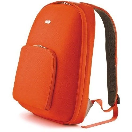Urban Backpack w Cotton & Aniline Leather in Orange | Buy Laptop Cases & Bags