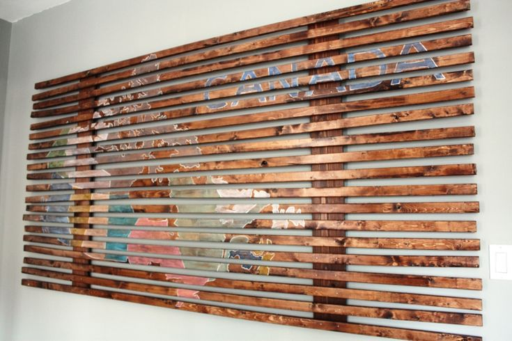 DIY: slatted wood map art. not canada, though. sorry canada.