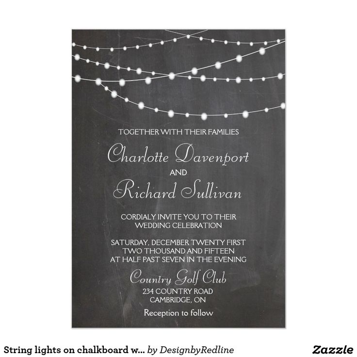 fast shipping wedding invitations%0A Shop String lights on chalkboard wedding invitation created by  DesignbyRedline