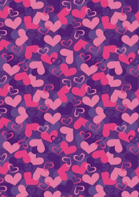 Valentines Day scrapbook paper - purple and pink hearts