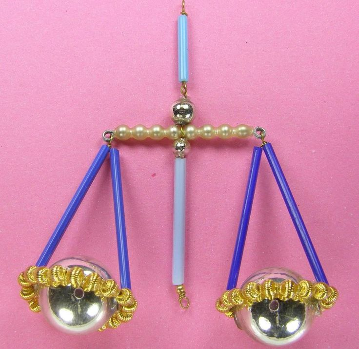"""Old Blown Glass Bead Wired Czech Christmas Decoration Scales Libra Blue 4"""""""