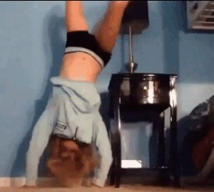 Forget everything you thought you knew about hand and/or headstands! But don't take any tips from these GIFs either.