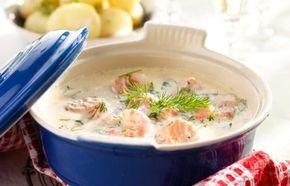 Krämig fisk- och skaldjursgryta med lax, räkor, dill och potatis. Passar perfekt när du vill äta god och nyttig mat som går snabbt att laga.