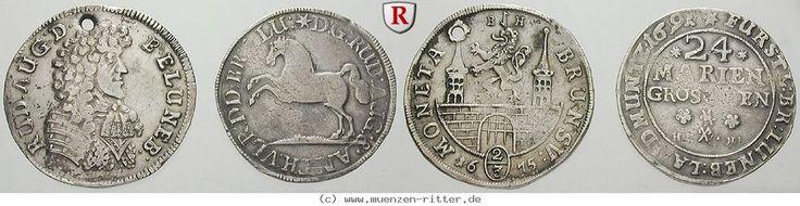 RITTER Braunschweig, 2 Münzen, 24 Mariengroschen 1691, 2/3 Taler 1675 #coins