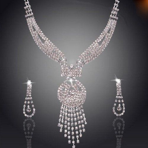 Elegant Water Drop Rhinestone Necklace and Earring Set – UCHARMME.co.nz