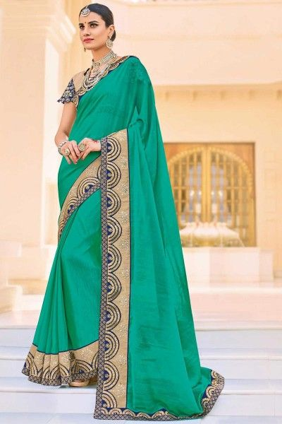 Embroidered Chiffon Cyan Saree with Lace Border