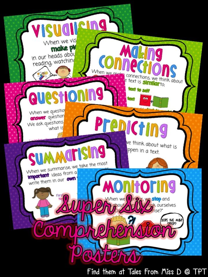 Now includes BOTH British and American spelling versions A set of 6 posters explaining the Super Six Comprehension Strategies 1. Visualising 2. Making Connections 3. Questioning 4. Predicting 5. Summarising 6. Monitoring These posters can be used to introduce each strategy and then used as part of a Wall That Teaches by hanging student work samples underneath each poster. The .ZIP file contains two .PDF files; one with British spelling and one with American spelling.