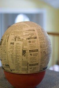 paper mache astronaut helmet, diy astronaut helmet
