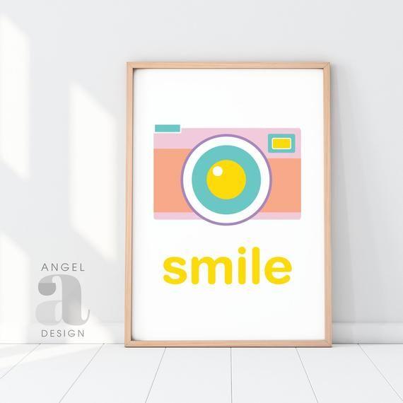 Motivational wall art home wall art smile camera print