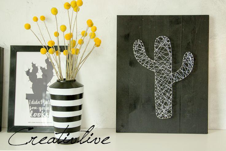 DIY Nagel-Fadenbild Kaktus und ein Kissen