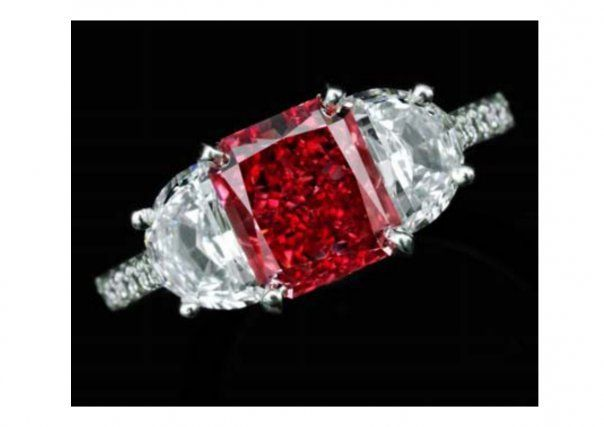Exceptionally and Extremely Rare Fancy Red Diamond 1.92 Carats Ring.