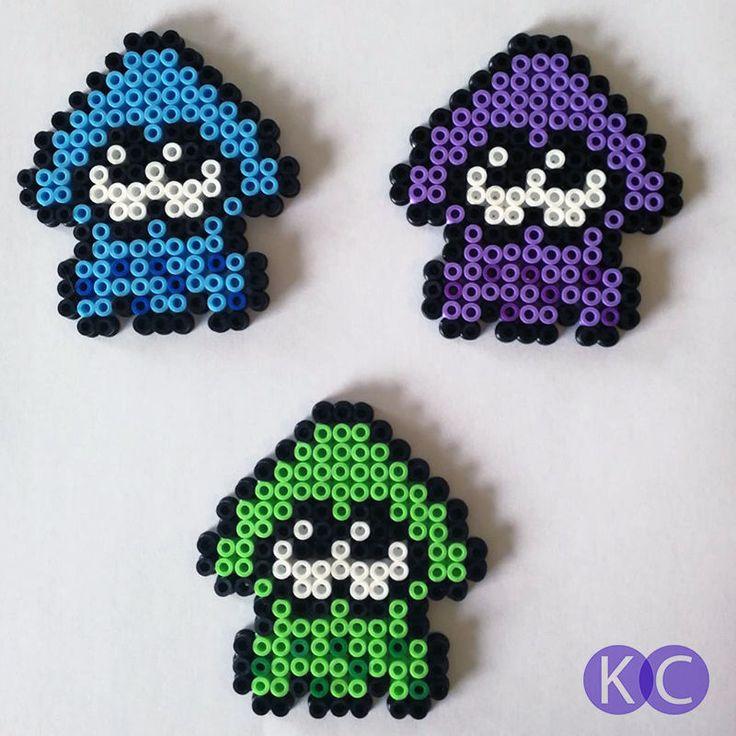 Splatoon, Fridge magnets, perler beads, bead art, Splatoon Squids, Squid magnets, Fridge art, 8bit, pixel art, Coloured beads, Bead magnets