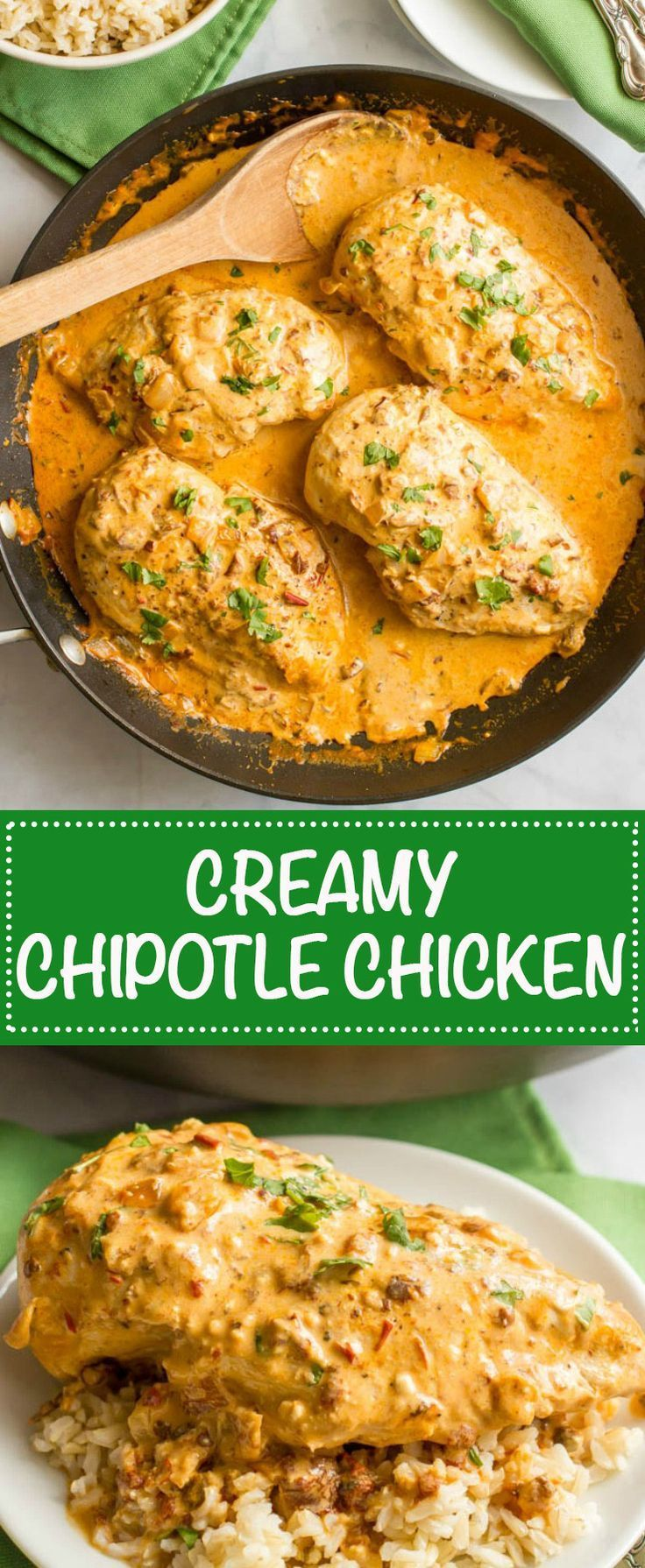 Creamy chipotle chicken is a simple but super flavorful 30-minute dinner with a delicious smoky chipotle cream sauce - that's healthy!