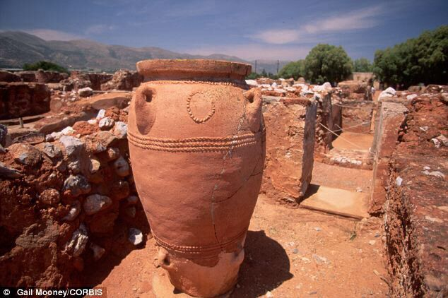 Minoans - named after the mythical king , Minos .Storage jars in the ruins of the palace of Knossos , Crete.  Minoan culture  made some exceptional advances , before being destroyed by a volcano.  Historical datings vary - some pre-Neolithic .