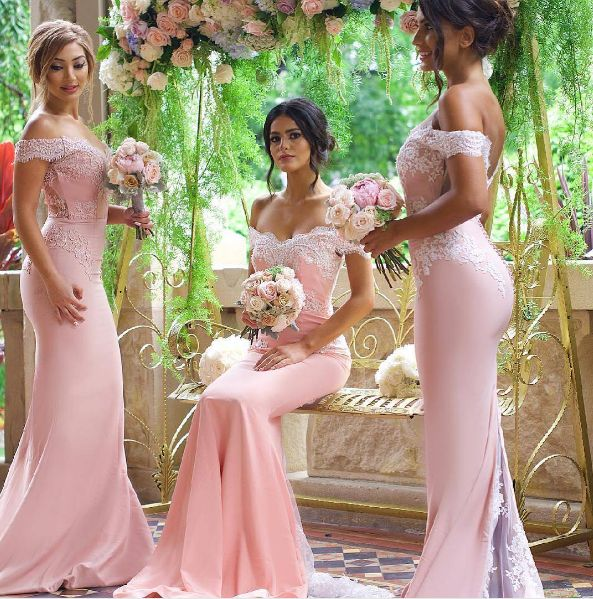 Mermaid Prom Dress,Sexy Off Shoulder Sleeves Pink Lace Bridesmaid Dress,Sexy Mermaid Graduation Dress