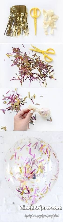 Transparent balloon with confetti in the middle