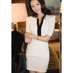 $8.08 #Casual #Style V-Neck Low-Cut Contrast Color Short Sleeveless #Dress For #Women