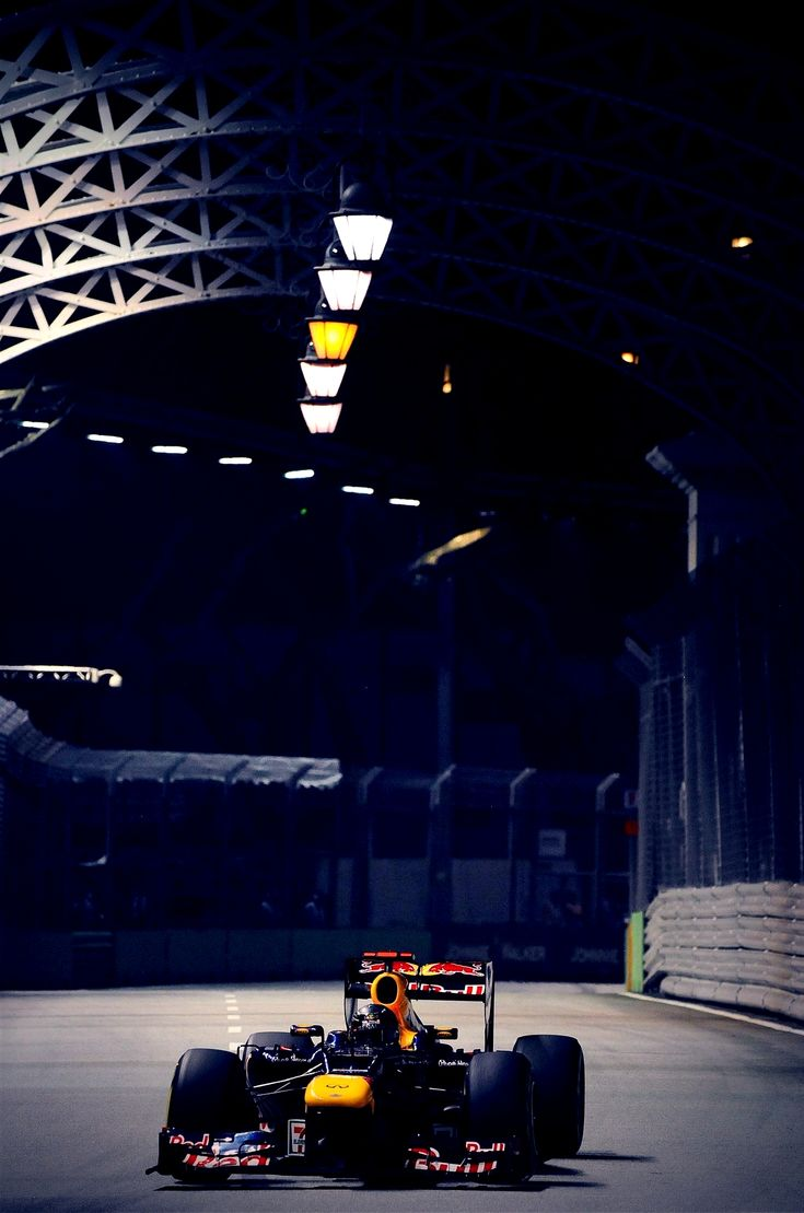 Red Bull F1 car on the track at night - more on www.murraymitchell.com