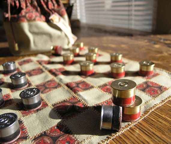 "Rustic set of checkers made from recycled shotgun shells; played on an 11"" square denim board - beige, red & black - limited edition"
