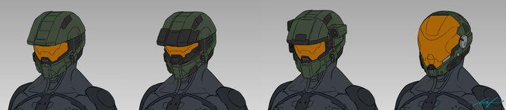 Halo 5 Helmet Redesigns, Corvin Stichert on ArtStation at https://www.artstation.com/artwork/90boQ