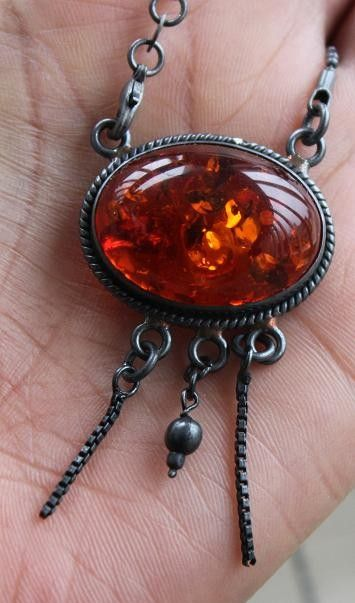 Baltic Amber and Sterling necklace $49