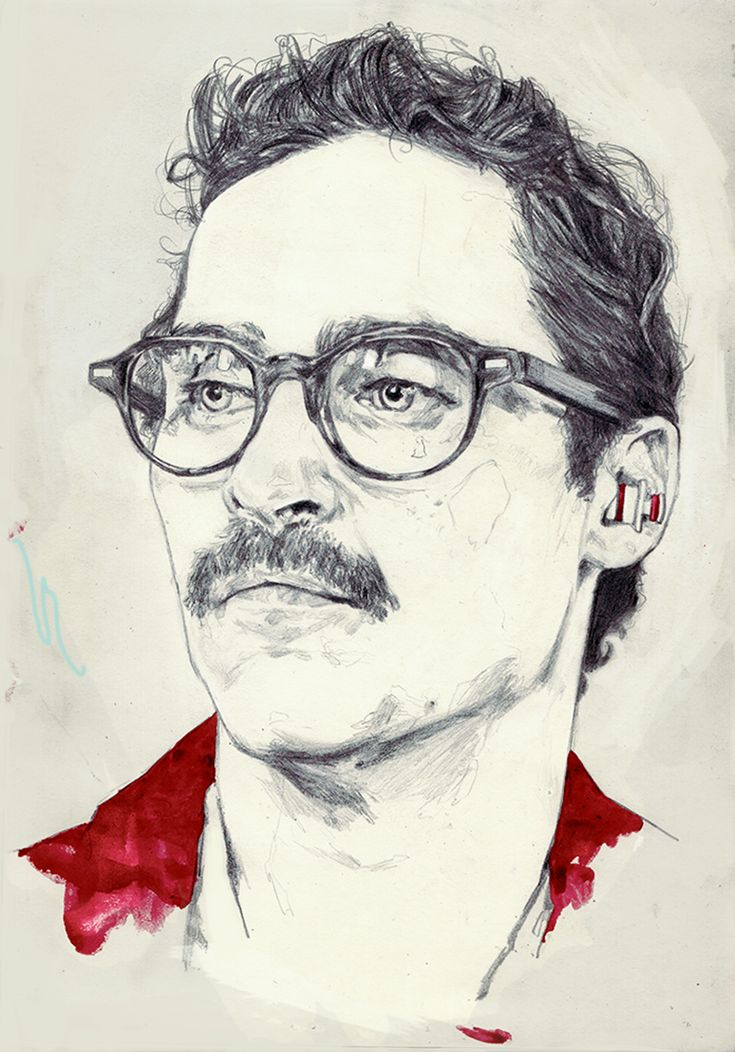 Joquin Phoenix from 'Her', Graphite & Pastels on Paper, by Adria Mercuri.