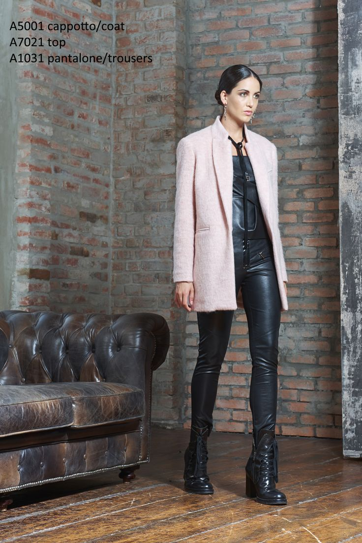 this pink, fluffy, oversized, masculine-tailored coat is the perfect partner to our ecoleather trousers. Tough and modern with more than a hint of femininity.