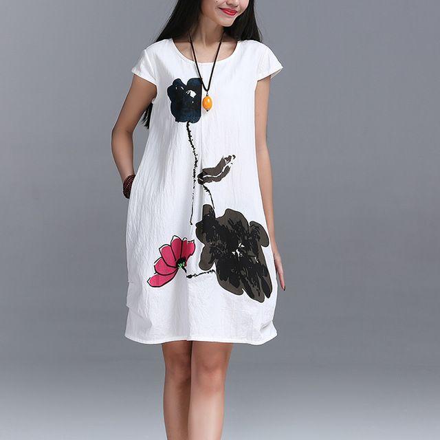 Nueva Moda 2016 Verano estilo de Artes de Alta Calidad de algodón de lino Flojo ocasional Vestidos de Las Mujeres de La Vendimia de Impresión de Tinta Vestido de manga Corta
