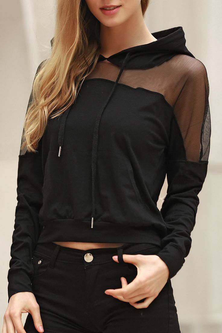 Voile Spliced Hooded Long Sleeve Hoodie BLACK: Sweatshirts | ZAFUL