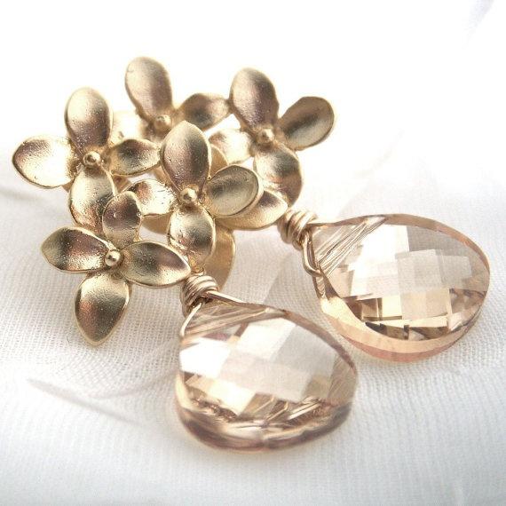 Gold earrings Flower earrings champagne by KGarnerDesigns on Etsy, $32.00