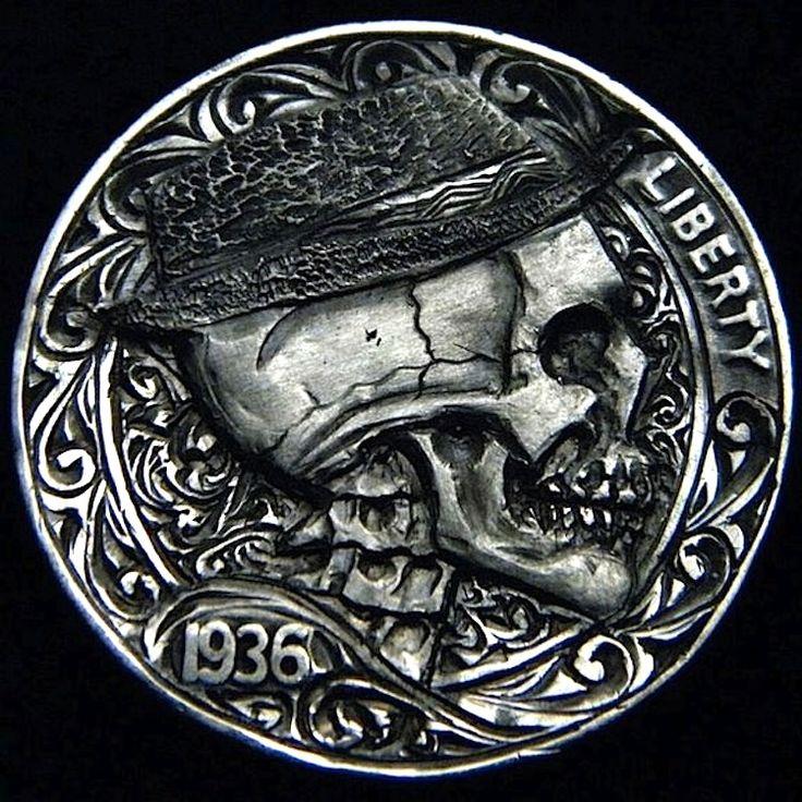 ROBERT MORRIS HOBO NICKEL - SKULL HOBO - 1936 BUFFALO PROFILE