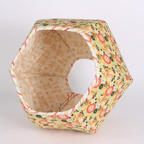 Cat Ball cat bed in Woodlands Flower Fabric a Modern Cat Bed in Coral, Melon and Ivory Riley Blake Fabrics Made in USA