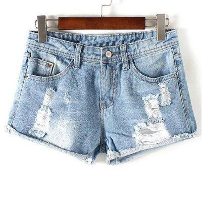 Destroy Wash Frayed Low Waist Denim Shorts