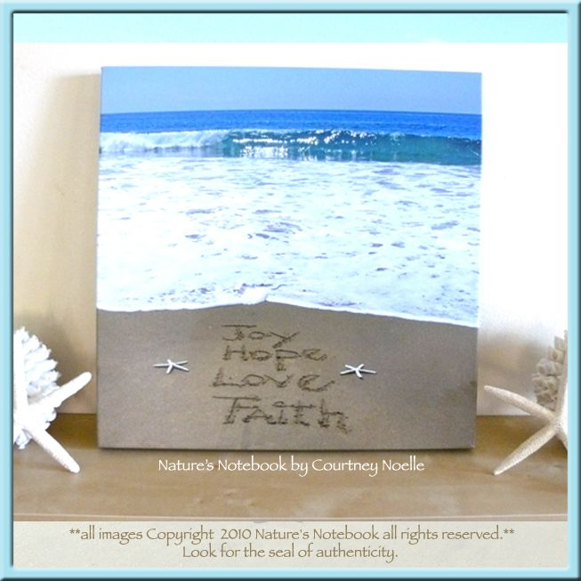 79 best natures notebookunique gifts images on pinterest inspirational beach chic wall decor joy hope love and faith written in the voltagebd Images